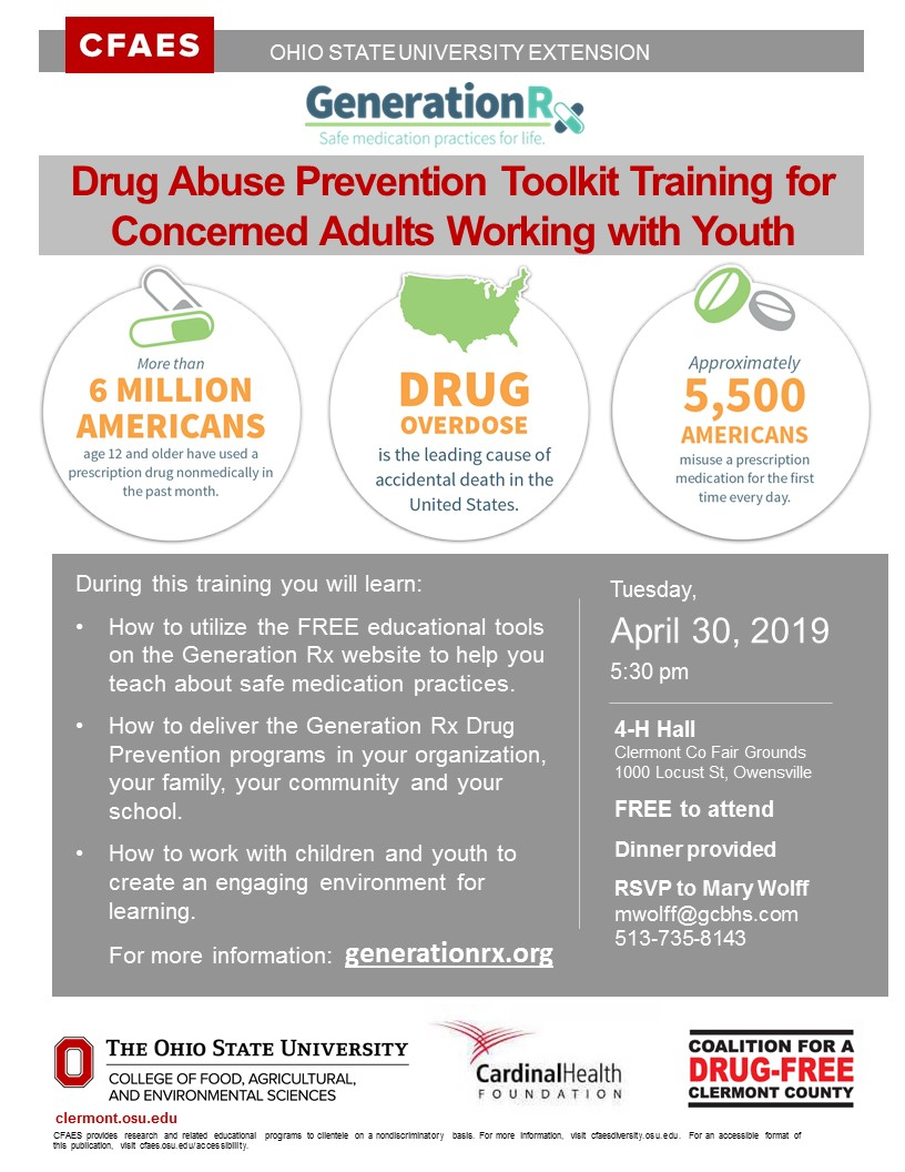 Drug Abuse Prevention Toolkit Training Flyer