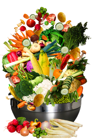 Bowl full of bright colored vegetables